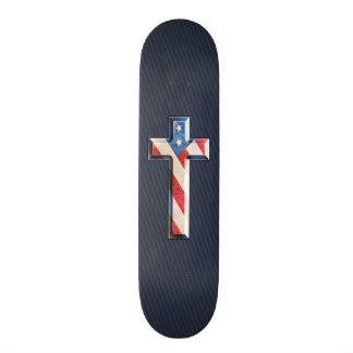Cruz americana de la fe skate board