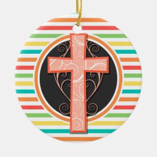 Cruz anaranjada coralina Rayas brillantes del Adorno Para Reyes