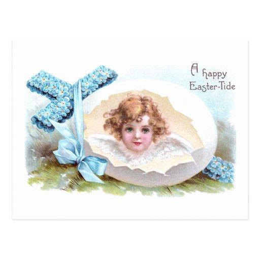 Cruz, ángel y vintage Pascua religiosa del huevo Postales