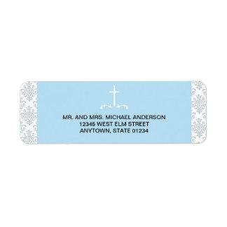 Cruz azul con el modelo del damasco etiqueta de remite