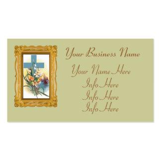 Cruz azul con las flores y los barcos tarjetas de visita