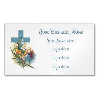Cruz azul con las flores y los barcos tarjetas de visita magnéticas (paquete de 25)