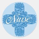Cruz azul de encaje de la enfermera pegatinas redondas