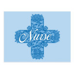 Cruz azul de encaje de la enfermera tarjeta postal