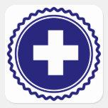 Cruz azul de la atención sanitaria del primer calcomanía cuadradas personalizadas