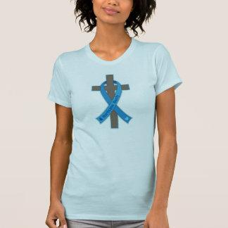 Cruz azul de la cinta de la conciencia de Sandy de T-shirt