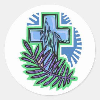 Cruz azul de la palma pegatina redonda