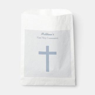 Cruz azul en colores pastel de la comunión bolsa de papel