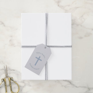 Cruz azul en colores pastel de la comunión etiquetas para regalos