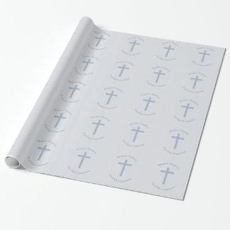 Cruz azul en colores pastel de la comunión papel de regalo