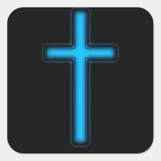 Cruz azul pegatina cuadrada