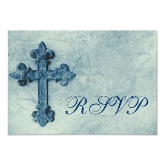 Cruz azul rústica apenada casando las tarjetas de invitaciones personalizada