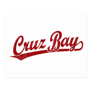 Cruz Bay script logo in red Postcard
