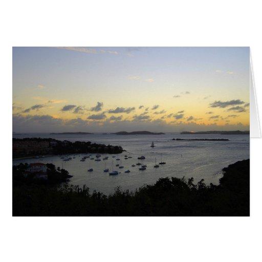 Cruz Bay Sunset Panorama, St. John, U.S.V.I. Card