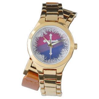 Cruz bisexual del orgullo relojes