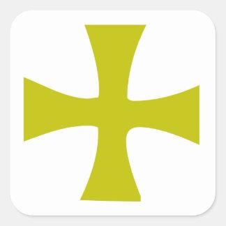 Cruz bizantina del oro colcomania cuadrada