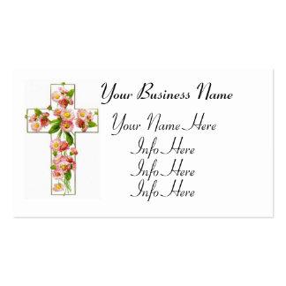 Cruz blanca con floral rosado tarjetas de visita