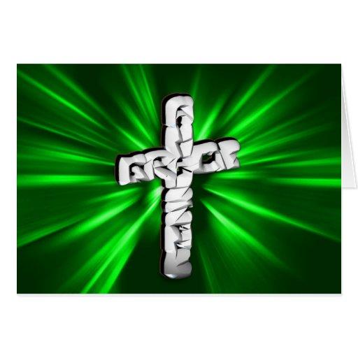 Cruz blanca con la explosión de la esmeralda tarjetón