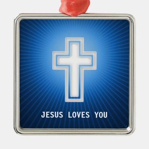 Cruz blanca en el ornamento azul del cristiano del adorno de navidad