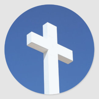 Cruz blanca pegatina redonda
