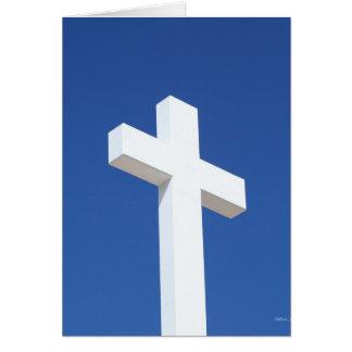 Cruz blanca tarjeta de felicitación