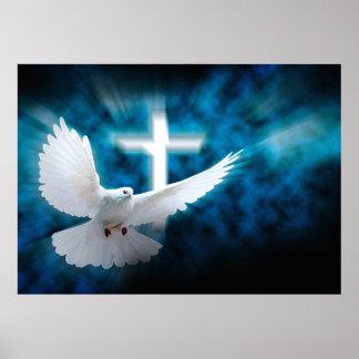 Cruz blanca y paloma santa en el poster oscuro del