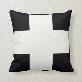 Cruz blanco y negro cojín
