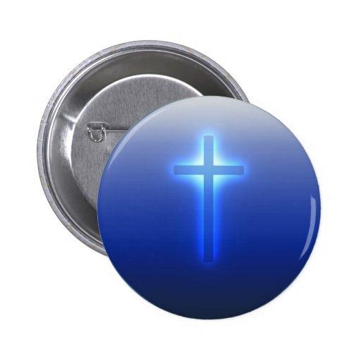 Cruz - botón cristiano pin redondo de 2 pulgadas