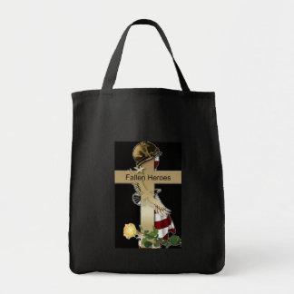 Cruz caida de los héroes bolsa tela para la compra