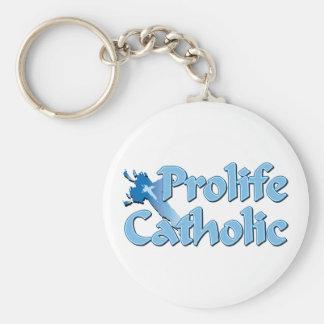 Cruz católica Prolife Llavero Redondo Tipo Pin