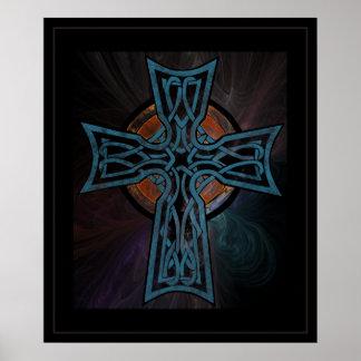 Cruz céltica azul póster