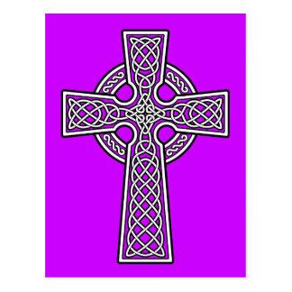 Cruz céltica blanca y clara postal