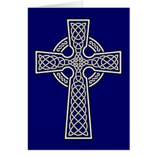 Cruz céltica blanca y clara tarjeta de felicitación