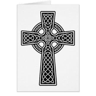 Cruz céltica blanco y negro tarjeta de felicitación