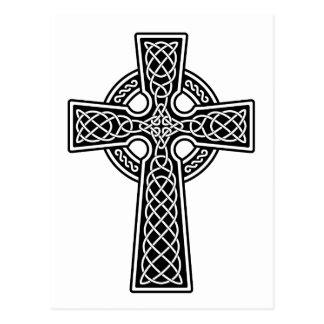Cruz céltica blanco y negro tarjeta postal