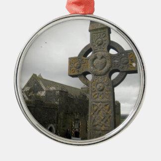 Cruz céltica, Cashel, Irlanda Adorno Redondo Plateado