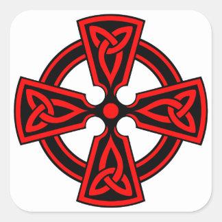 CRUZ CÉLTICA - CELT/IRISH/IRELAND/IRISH/IRISHMAN PEGATINA CUADRADA