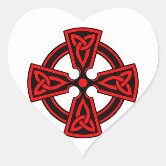CRUZ CÉLTICA - CELT/IRISH/IRELAND/IRISH/IRISHMAN PEGATINA EN FORMA DE CORAZÓN