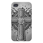 Cruz céltica con las alas (negro y gris) iPhone 4 carcasa
