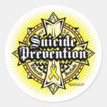 Cruz céltica de la prevención del suicidio pegatina redonda