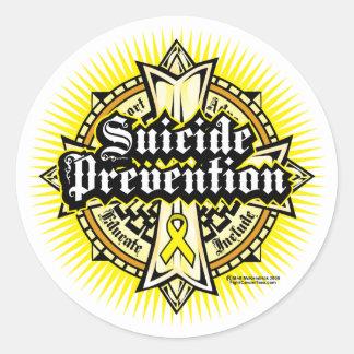 Cruz céltica de la prevención del suicidio etiqueta redonda
