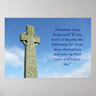 Cruz céltica del 16:24 de Matthew Póster