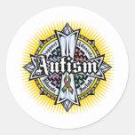 Cruz céltica del autismo etiquetas redondas