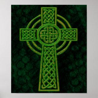 Cruz céltica del Grunge verde Póster