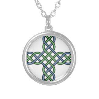 Cruz céltica del nudo, azul y verde, regalo, arroz colgante redondo