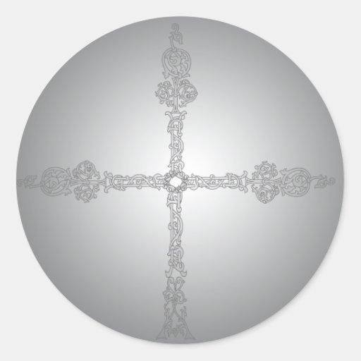 Cruz céltica descolorada gótica pegatina redonda