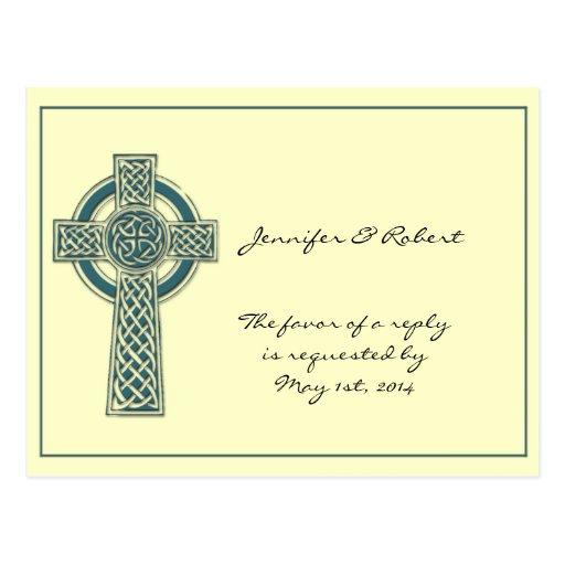 Cruz céltica en la postal de marfil de RSVP del