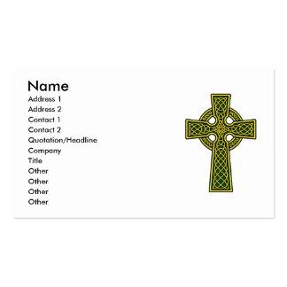 Cruz céltica en oro y verde tarjetas de visita