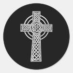 Cruz céltica etiqueta redonda