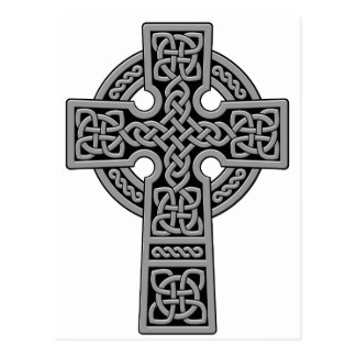 Cruz céltica gris y negra postal